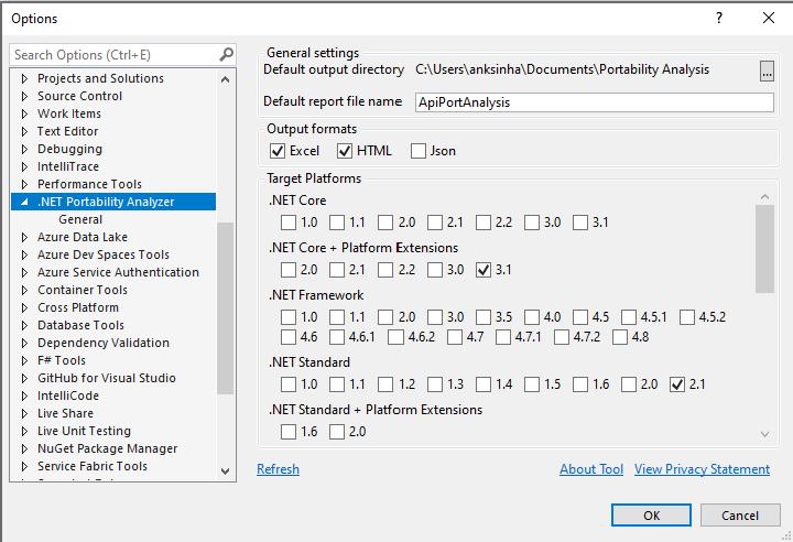 Portability Analyzer Configuration